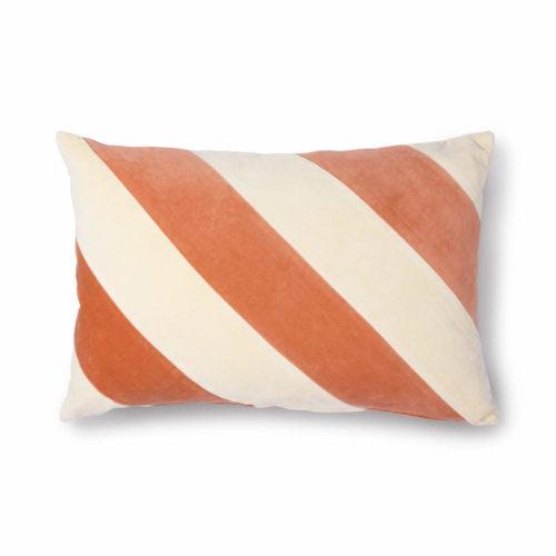 Striped Cushion Velvet Peach and Cream