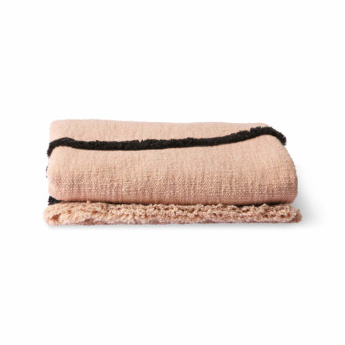 Soft Woven Throw Nude With Black Tufted Lines