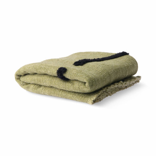 Soft Woven Throw Pistachio With Black Tufted Lines