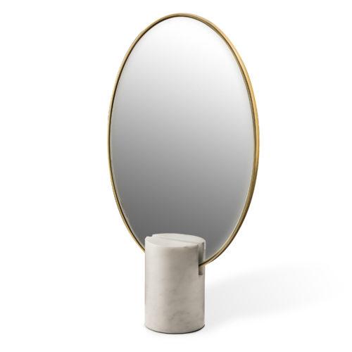 Mirror Oval Marble White