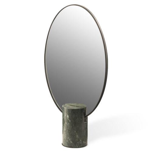 Miroir Oval en Marbre Vert